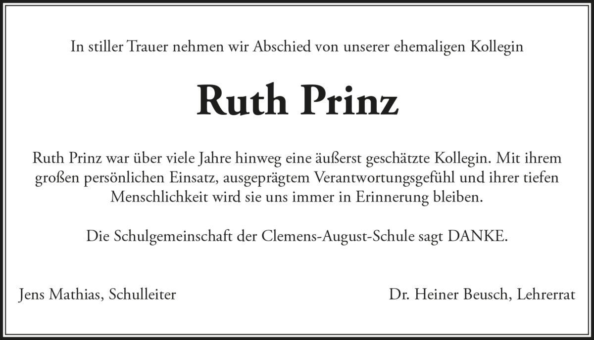 Traueranzeige Ruth Prinz